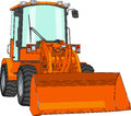 Vector bulldozer orange with bucket Stock Images
