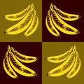 Vector bunch of bananas yellow flat pattern