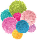 Vector Bunch of Colorful Baby Kids Birthday Party Pom Poms Element. Great for handmade cards, invitations, wallpaper