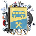 Vector Bus Repair Book with Car Spares Royalty Free Stock Photo