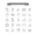 Vector busines, money and finance thin line icon set Royalty Free Stock Photo