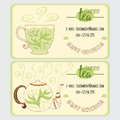 Vector business card for cafe and restourant with cup, teapot, steam and green tea Royalty Free Stock Photo