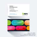 Vector business card template with colourful rounded rectangles