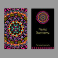 Vector business card template. Ethnic tribal ornaments. Mandala patterns. Boho style