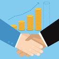Vector business concept in flat style hand shake and coins Royalty Free Stock Photo