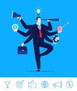 Vector business concept illustration. Businessman with six hands holding objects multitasking and multi skill
