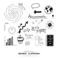 Vector of business design elements, hand drawn illustrations and typography