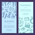 Vector business doodle icons vertical web banners illustration