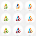 Vector business emblem fire water set icon Stock Photography