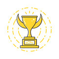 Vector business illustration of gold award cup icon in flat linear style.