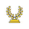 Vector business illustration of gold medal with leaves icon in flat line style.
