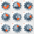 Vector business and industry gear style circle infographic templates for graphs, charts, diagrams and other infographics.