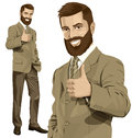 Vector Business Man With Beard Shows Well Done Royalty Free Stock Photo
