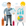 Vector Business man. Flat style colorful Cartoon illustration.