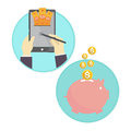 Vector of business man saving money piggy bank online Royalty Free Stock Photo