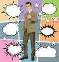 Vector Business Man Shows Well Done With Bubble Speech Royalty Free Stock Photo