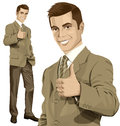 Vector Business Man Shows Well Done Royalty Free Stock Photo