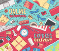 Vector business online shopping delivery service Royalty Free Stock Photo