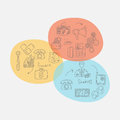 Vector business set template with doodles icons Royalty Free Stock Photo