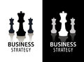 Vector business strategy logo, concept, chess logo. Black and white with reflection. Royalty Free Stock Photo