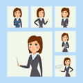 Vector business woman character silhouette standing adult office career posing young girl.
