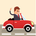 Vector. Businessman driving. Business man in the car. Royalty Free Stock Photo