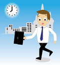 Vector of businessman hurrying to work Royalty Free Stock Photo