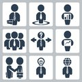 Vector businessman icons set isolated Royalty Free Stock Photos