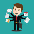 Vector of Businessman task a lot of work Royalty Free Stock Photo