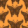 Vector butterfly tattoo seamless pattern