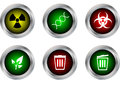 Vector button symbol ,radioactive,DNA,biohazard,ecology,bin clos Royalty Free Stock Photo