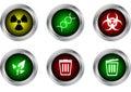 Vector button symbol ,radioactive,DNA,biohazard,ecology,bin close,bin open Royalty Free Stock Photo