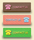 Vector buttons contuct us set of contucs ut in sweet colors Royalty Free Stock Image