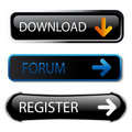 Vector buttons - download, forum, register Royalty Free Stock Images
