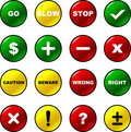 Vector buttons set with checkmarks math symbols Royalty Free Stock Image