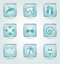 Vector buttons with vacation icons set of square and beachfront Royalty Free Stock Photo