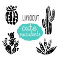 Vector Cactus hand-drawn poster. Grunge silhouette print linocuts. Royalty Free Stock Photo