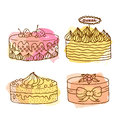 Vector cake illustration. Set of 4 hand drawn cakes with colorful watercolor splashes. Cakes with cream and berries.
