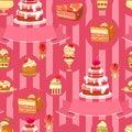 Vector Cake seamless pattern. Cute various desserts.