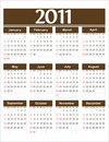 Vector calendar 2011 brown Stock Image
