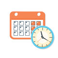 Vector calendar and clock icon. Schedule, appointment, important date concept.
