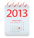 Vector calendar - february 2013 Stock Photos