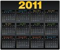 Vector Calendar grid 2011 year english Royalty Free Stock Photography