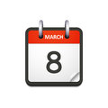 Vector calendar icon with 8 march date