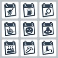Vector calendar icons representing holidays the knowledge day oktoberfest international woman s day columbus day halloween Royalty Free Stock Photography
