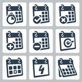 Vector calendar icons set Stock Image