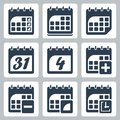 Vector calendar icons set isolated Stock Photos