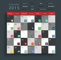 Vector calendar 2015 modern business flat icons set