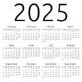Vector calendar 2025, Sunday