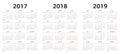 European vector calendar templates 2017, 2018, 2019